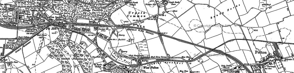 Old map of West Pelton in 1895