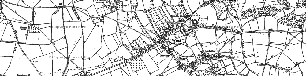 Old map of West Pennard in 1885