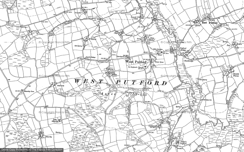 Old Map of Historic Map covering Wheelers Cross in 1884