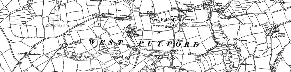 Old map of West Putford in 1884