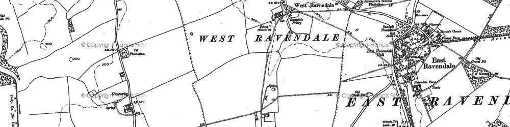 Old map of West Ravendale in 1887