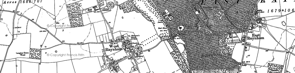 Old map of West Raynham Airfield in 1884