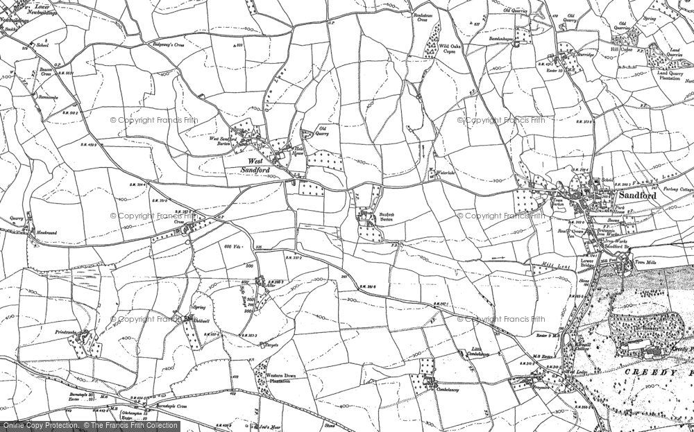 Old Map of Historic Map covering Aller Barton in 1886