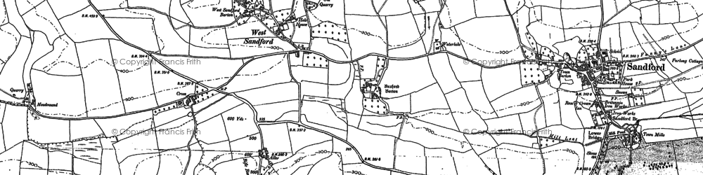 Old map of Aller Barton in 1886