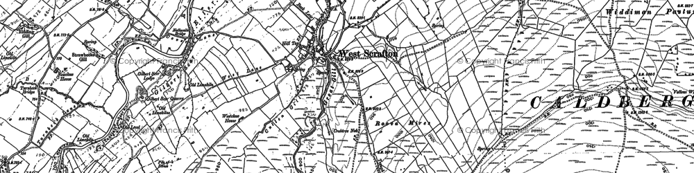 Old map of West Scrafton in 1890
