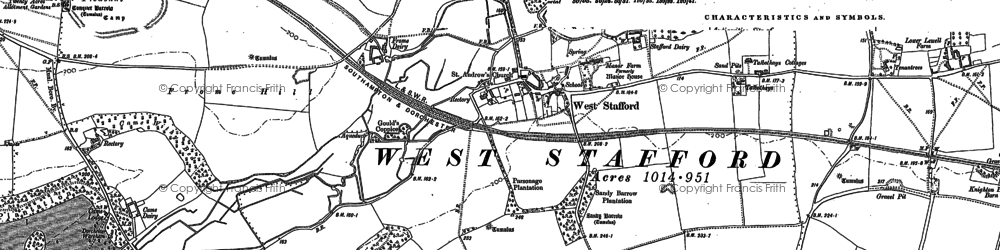 Old map of West Stafford in 1886