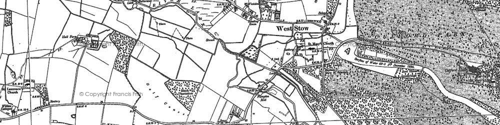 Old map of West Stow in 1882