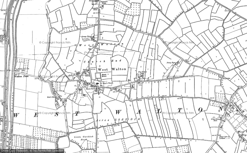 Old Map of West Walton, 1886 - 1901 in 1886