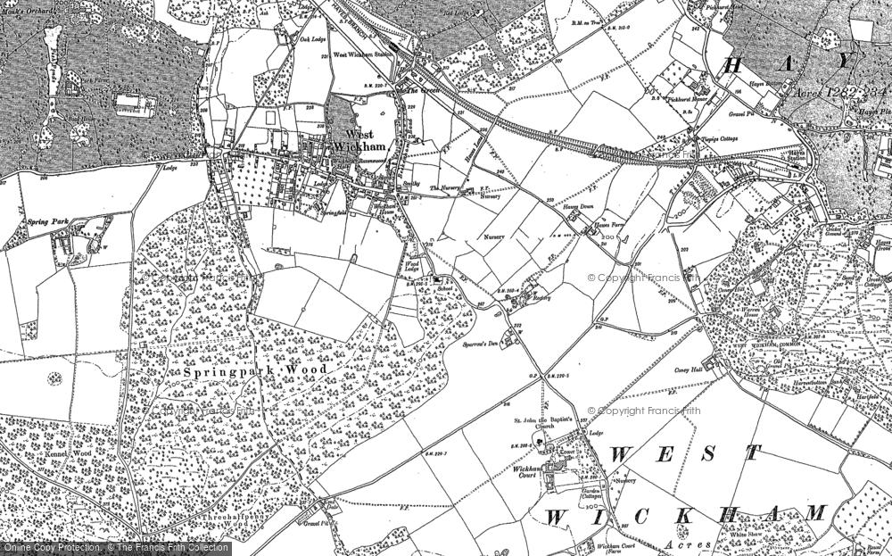 Map of West Wickham, 1907