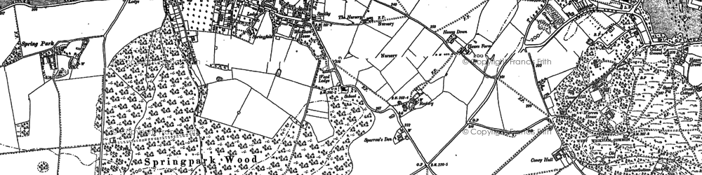 Old map of West Wickham in 1907