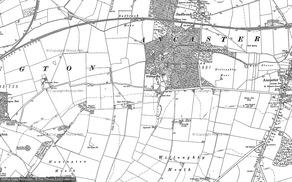 Old Map of Historic Map covering Willoughby Heath in 1887