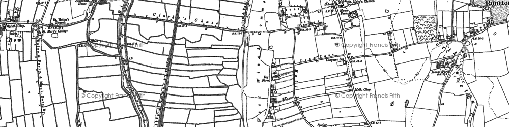 Old map of West Winch in 1884