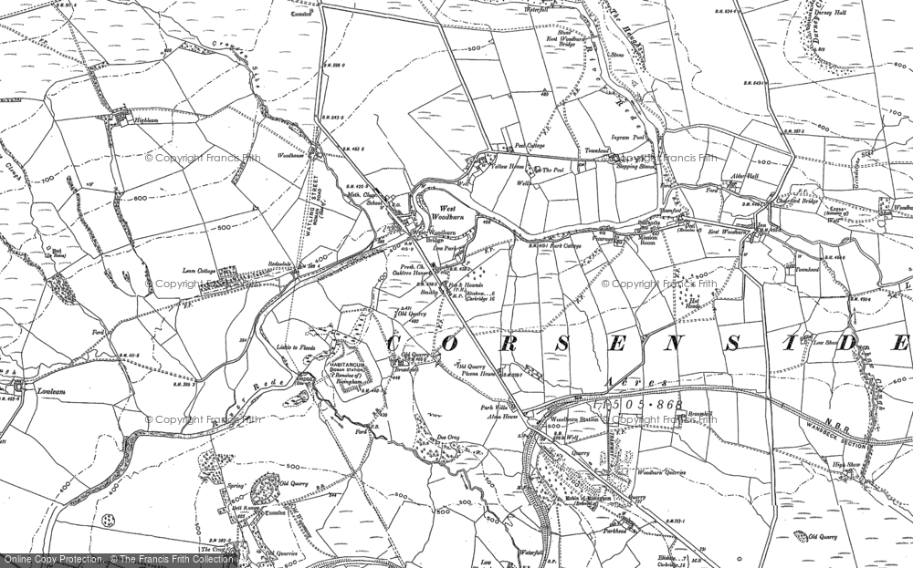Old Map of Historic Map covering Woodhouse in 1895