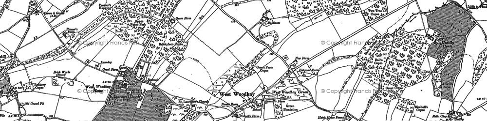 Old map of West Woodhay in 1909