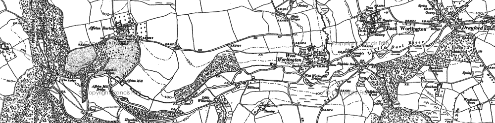 Old map of West Worlington in 1887