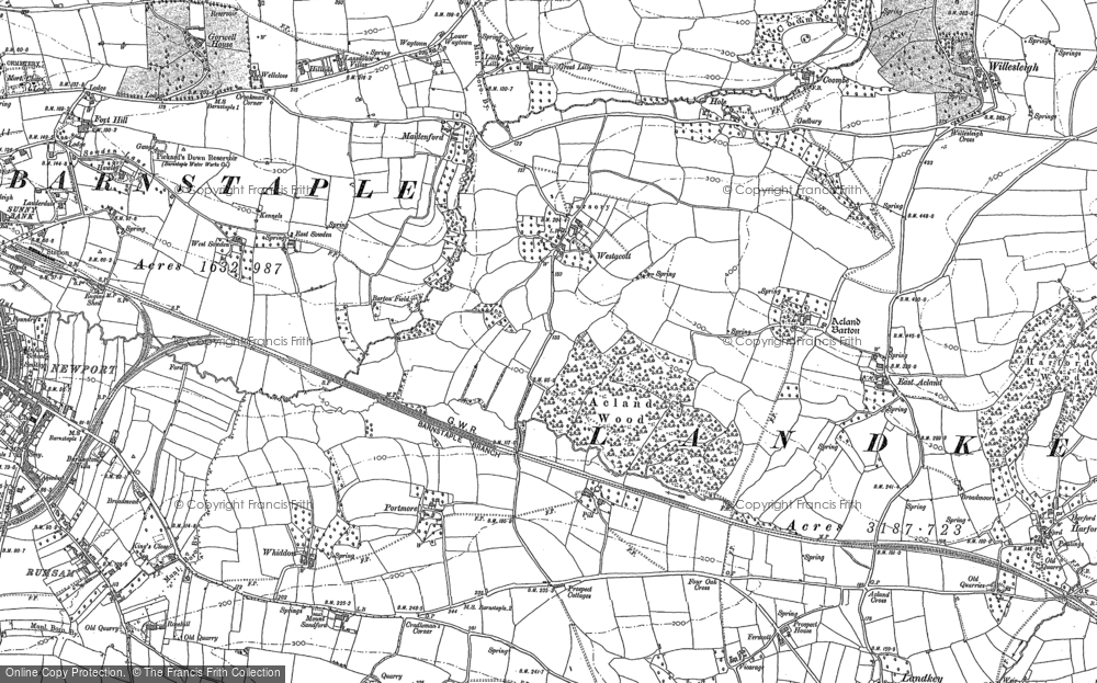 Old Map of Historic Map covering Whitemoor in 1885