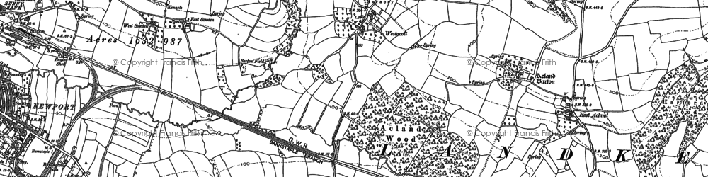 Old map of Whiddon in 1885