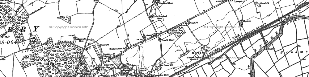 Old map of Westbere in 1896