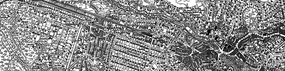 Old map of Bournemouth in 1908