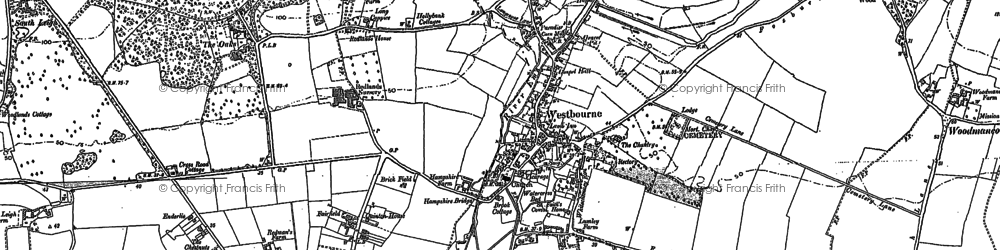 Old map of Westbourne in 1909