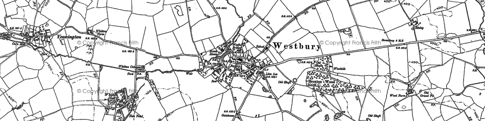 Old map of Westbury in 1881