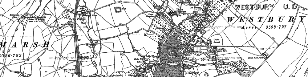 Old map of Westbury Leigh in 1922