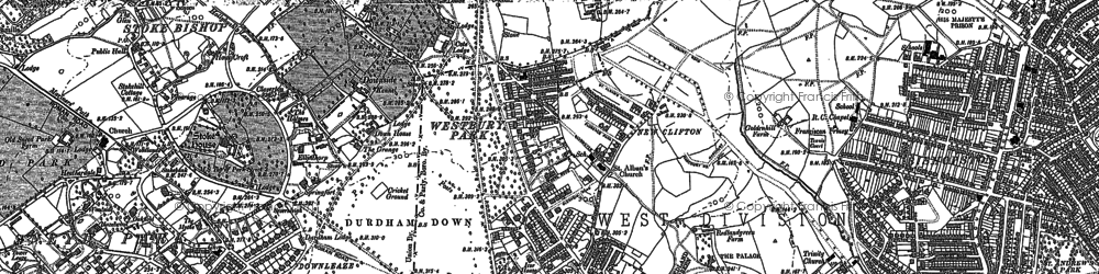 Old map of Westbury Park in 1901
