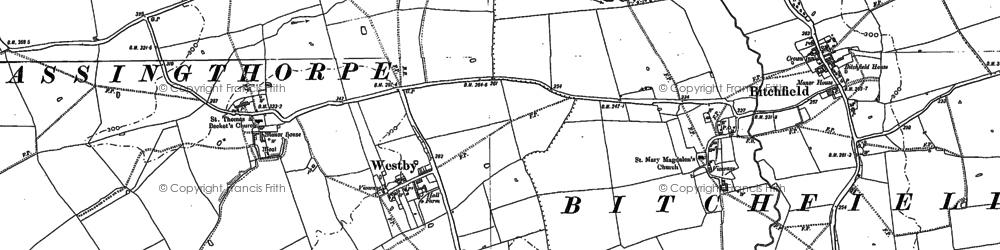 Old map of Westby in 1887