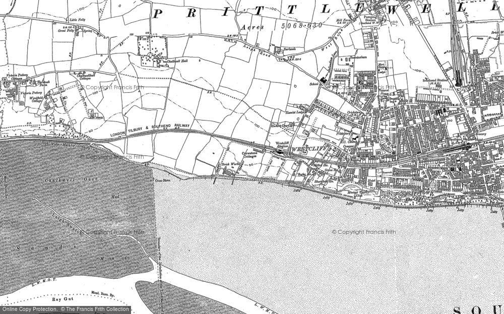 Map of Westcliff-on-Sea, 1895 - 1896