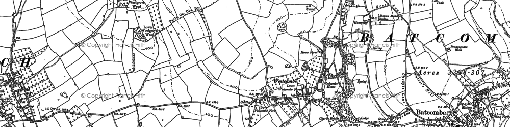 Old map of Westcombe in 1884