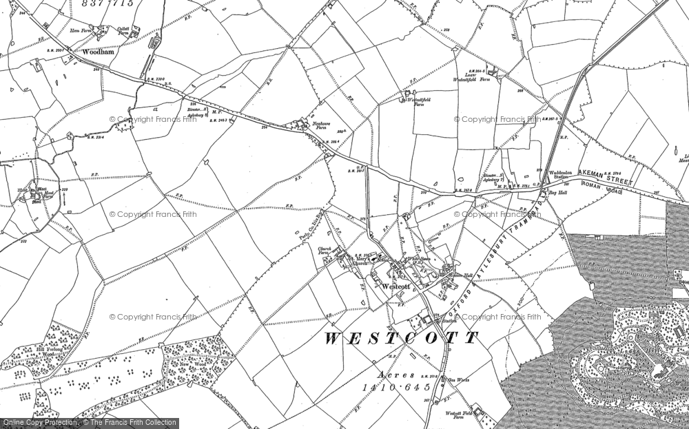 Old Map of Historic Map covering Woodham in 1898