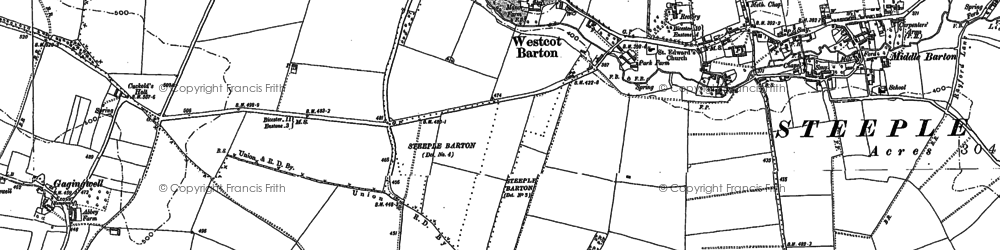 Old map of Westcott Barton in 1898