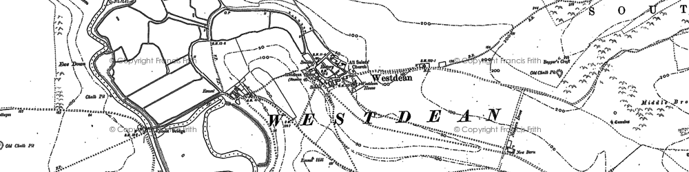 Old map of Westdean in 1908