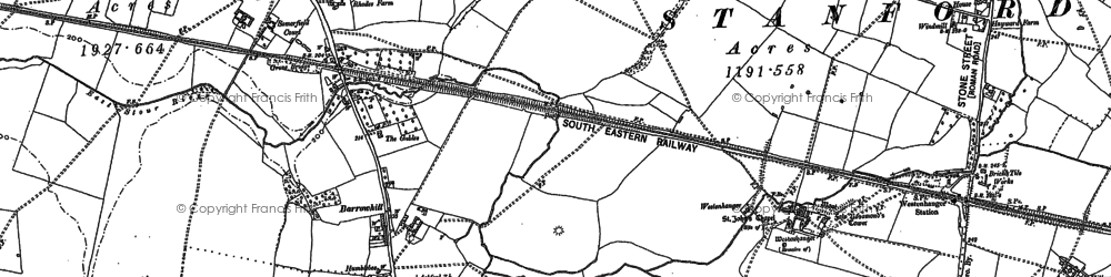 Old map of Westenhanger in 1906