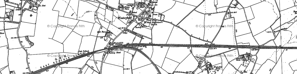 Old map of Westerfield in 1882