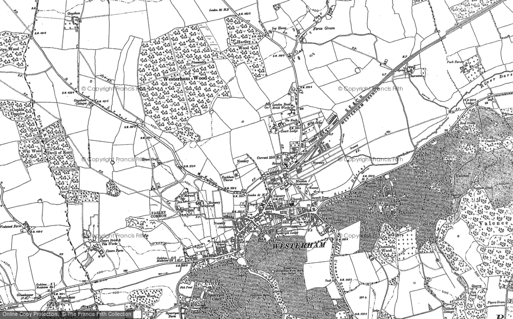 Old Map of Westerham, 1907 in 1907