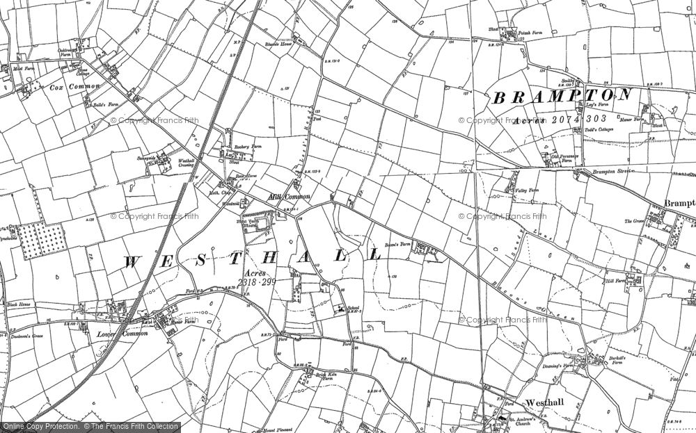 Old Map of Westhall, 1883 in 1883
