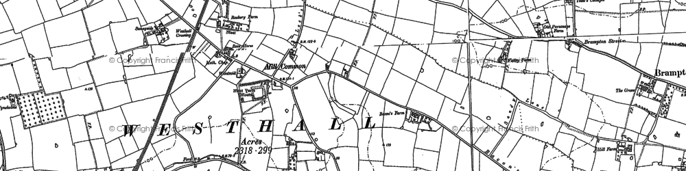 Old map of Westhall in 1883