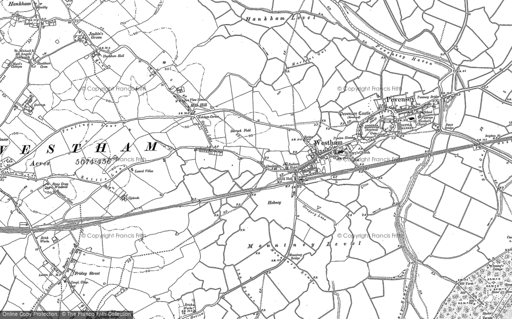 Old Map of Historic Map covering Langney in 1908
