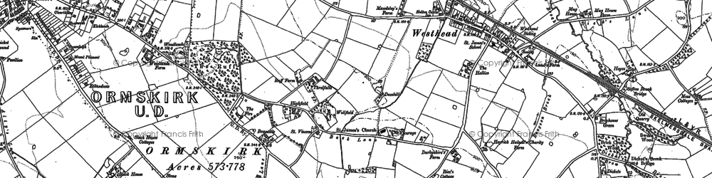 Old map of Westhead in 1891