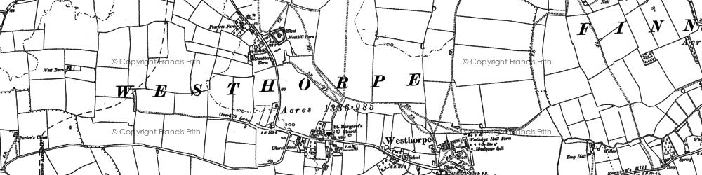 Old map of Westhorpe in 1884