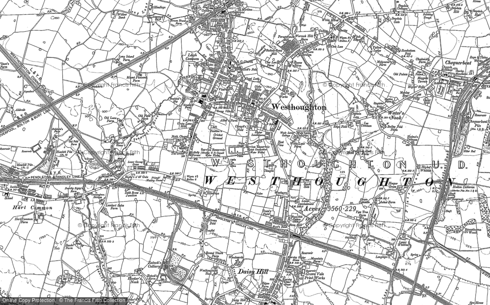 Old Map of Historic Map covering Daisy Hill in 1892