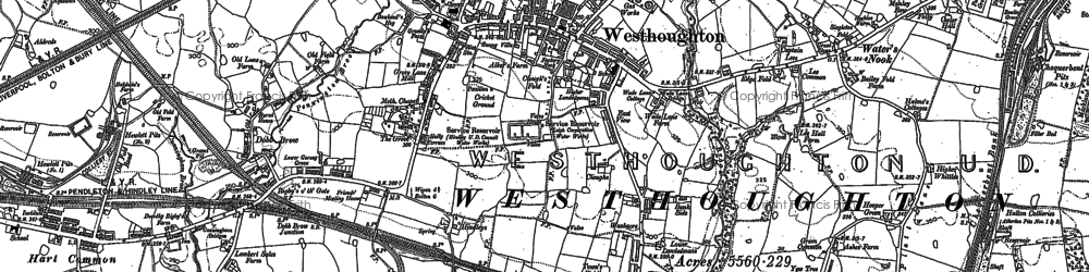 Old map of Westhoughton in 1892