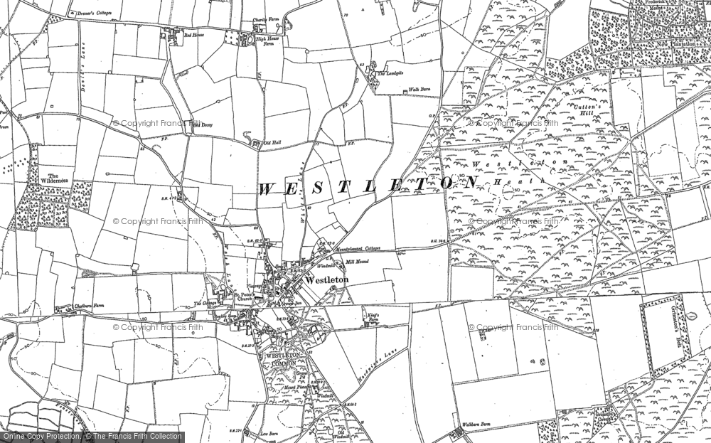 Old Map of Westleton, 1883 in 1883