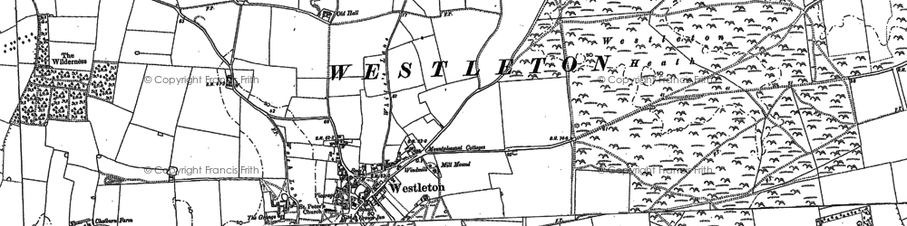 Old map of Westleton Common in 1883