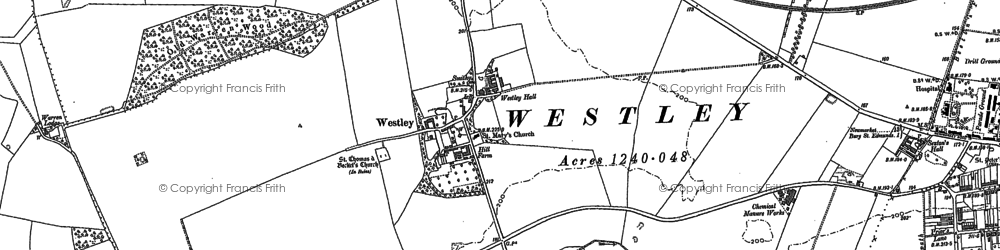 Old map of Westley in 1883