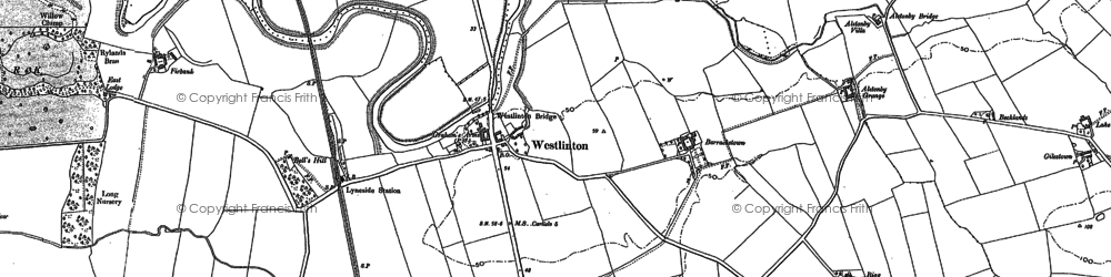 Old map of Westlinton in 1899