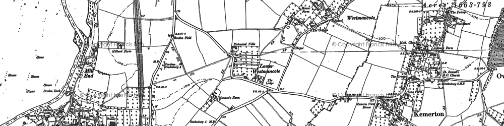 Old map of Westmancote in 1884