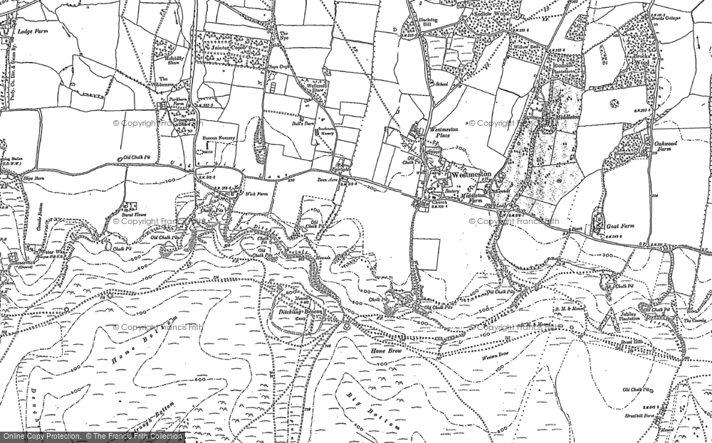 Old Map of Westmeston, 1897 in 1897