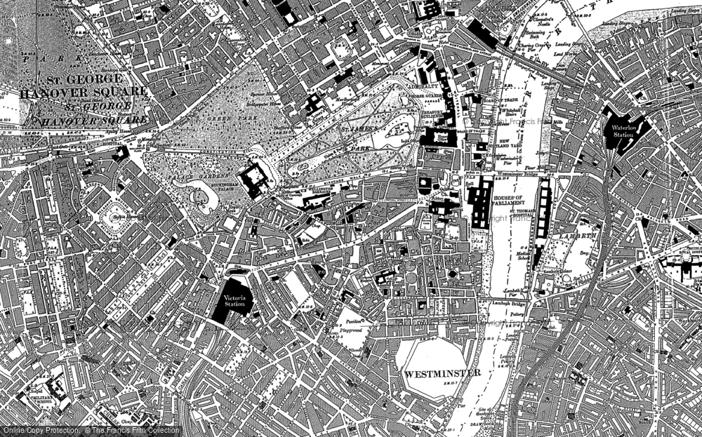Old Map of Historic Map covering Pimlico in 1894